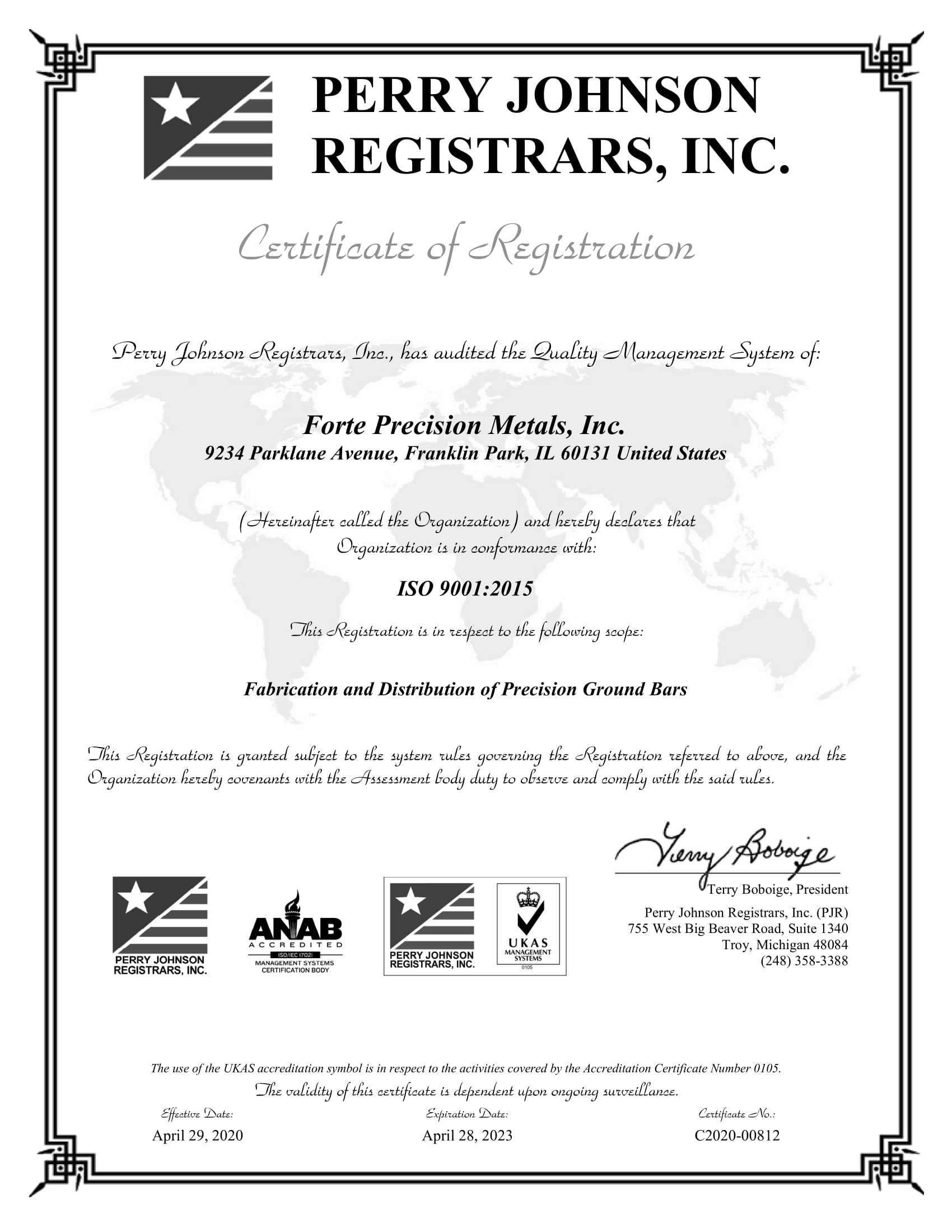 Forte Precision Metals, Inc. Final Cert 2020-1